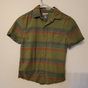 Boys olive green, red and blue button down short s